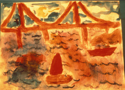 Student drawing of Golden Gate Bridge and boats
